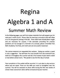 Algebra1 and 1A Summer Review Packet - Regina Catholic