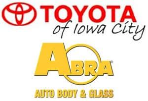 Toyota of Iowa City and Abra Auto Body & Glass logos