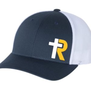 Navy Trucker Hat with white and gold logo