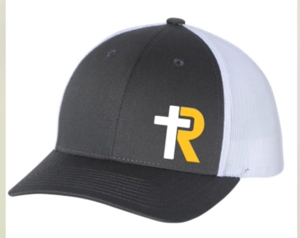 Gray Trucker Hat with white and gold logo