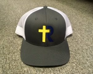 Gray Trucker Hat with navy and gold logo