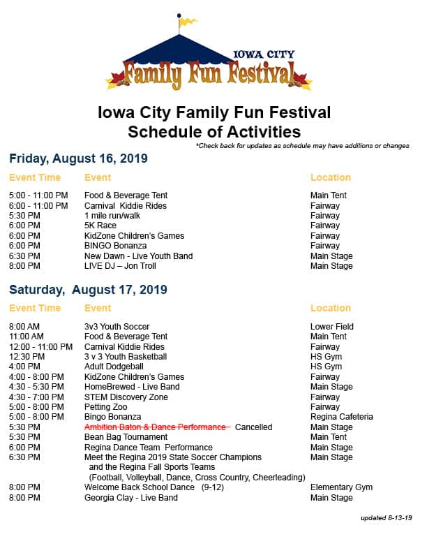 Family Fun Festival Schedule updated as of 8-13-19