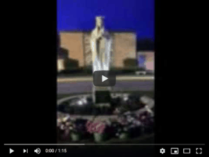 Image of the Mary statue at twighlight