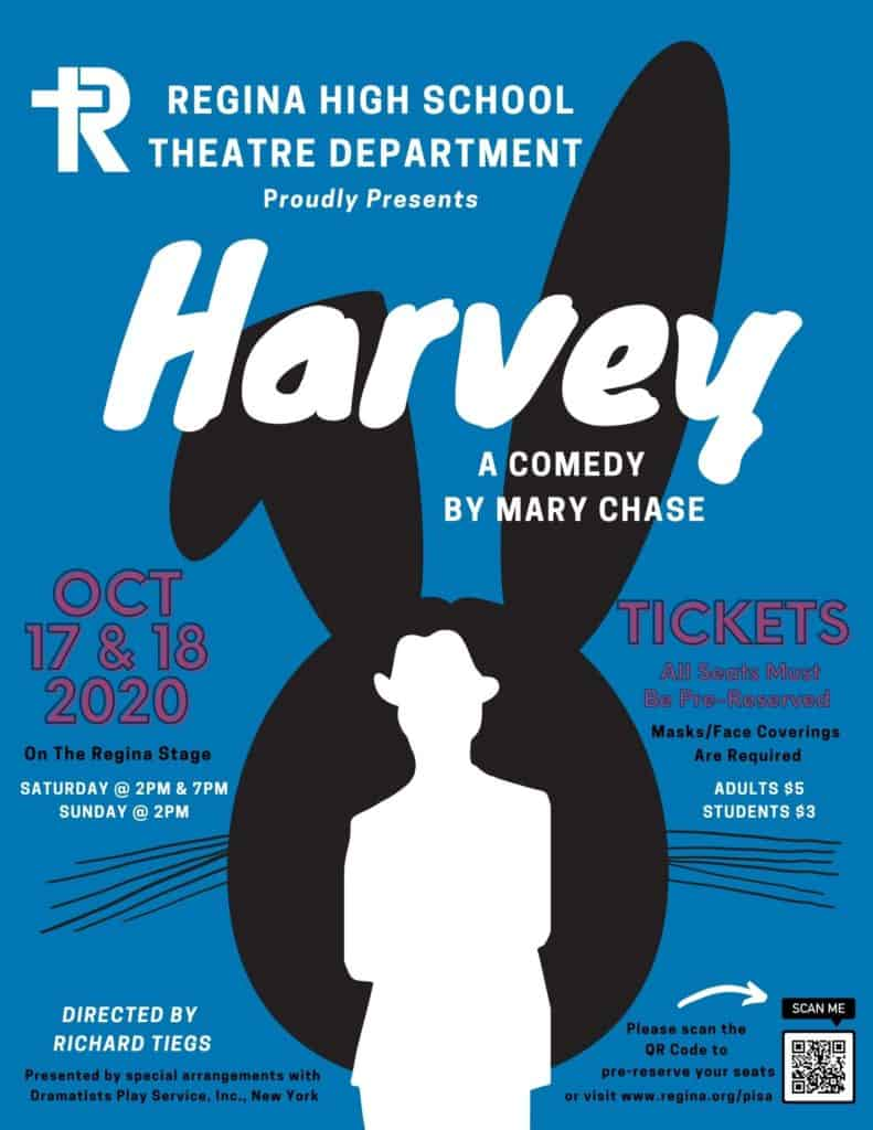 "2020 Fall Play ""Harvey"" poster"