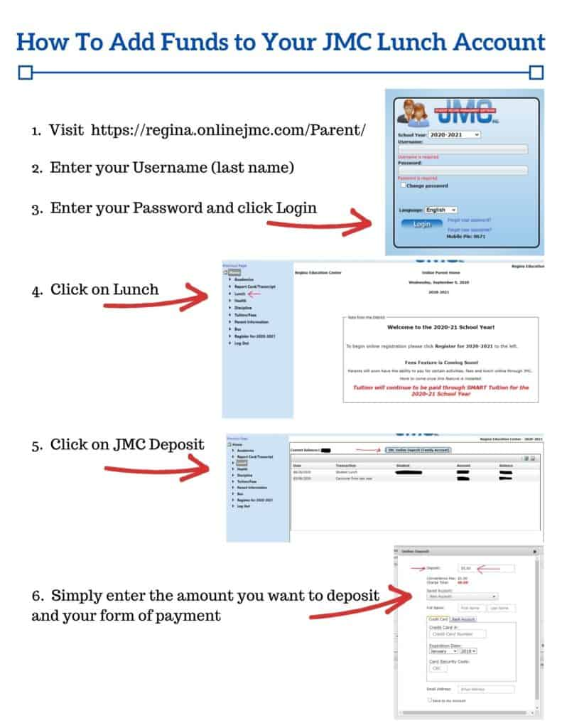 JMC lunch acct instructions